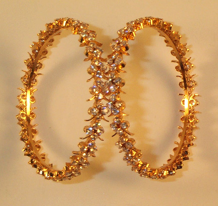 White Gem Stones Bangles - Click Image to Close