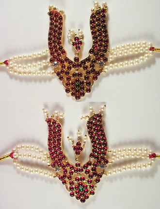 Pearl and red stone Vanki - Temple Jewelry